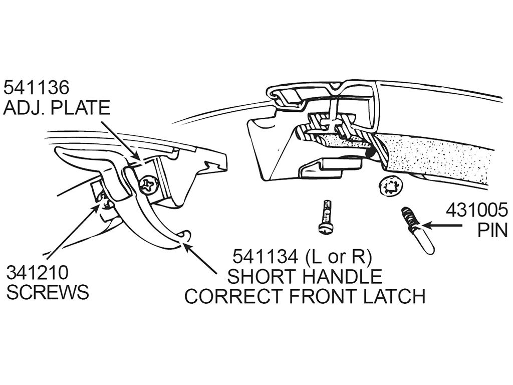 56-62 Soft Top / Convertible Top / Hardtop Latch Front