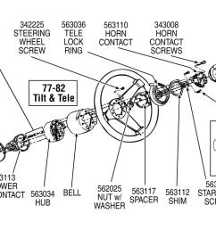 70 89 horn contact carrier retainer with tilt and telescopic steering wheel horn parts diagram for a 1986 corvette [ 1024 x 768 Pixel ]