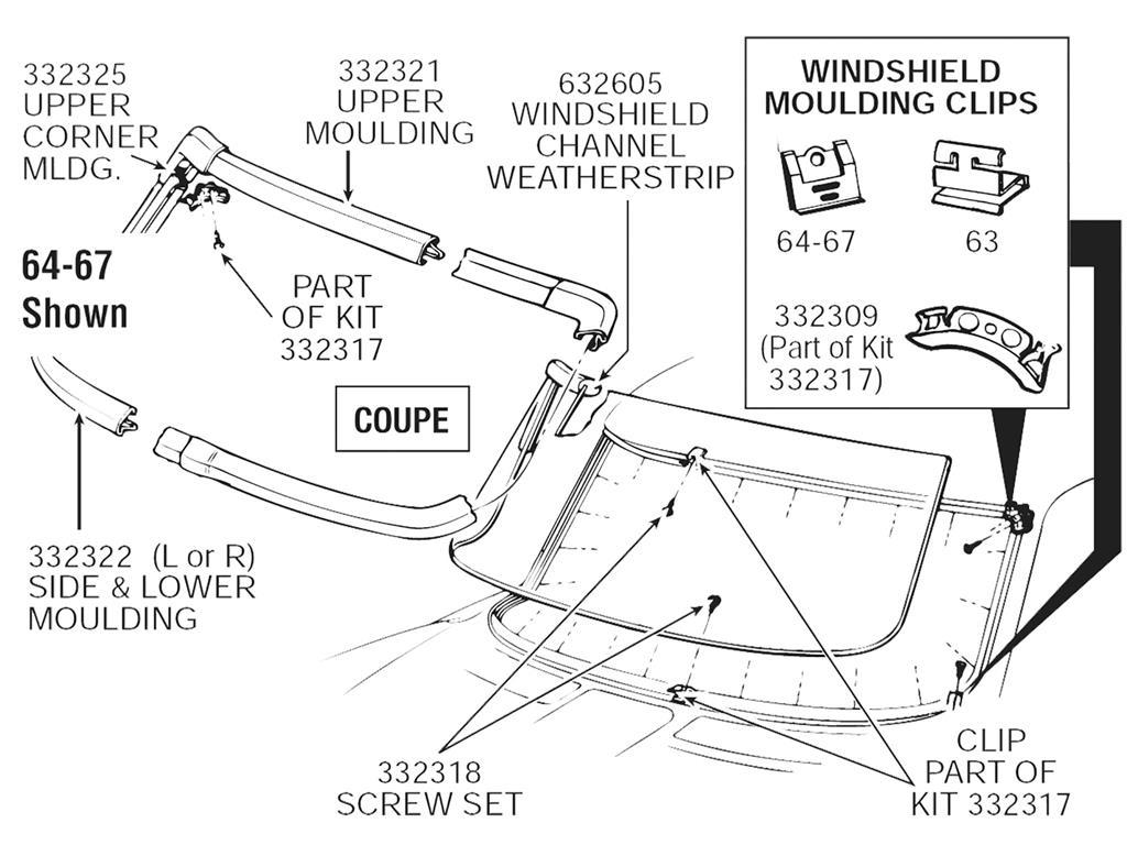 63 67 Windshield Channel