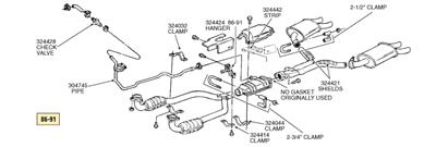 86-90 Exhaust System Without Pre Converters Except ZR1