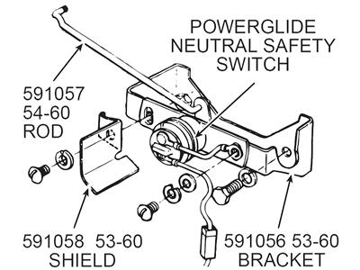 53-60 Powerglide Neutral Safety Switch Bracket with Mount