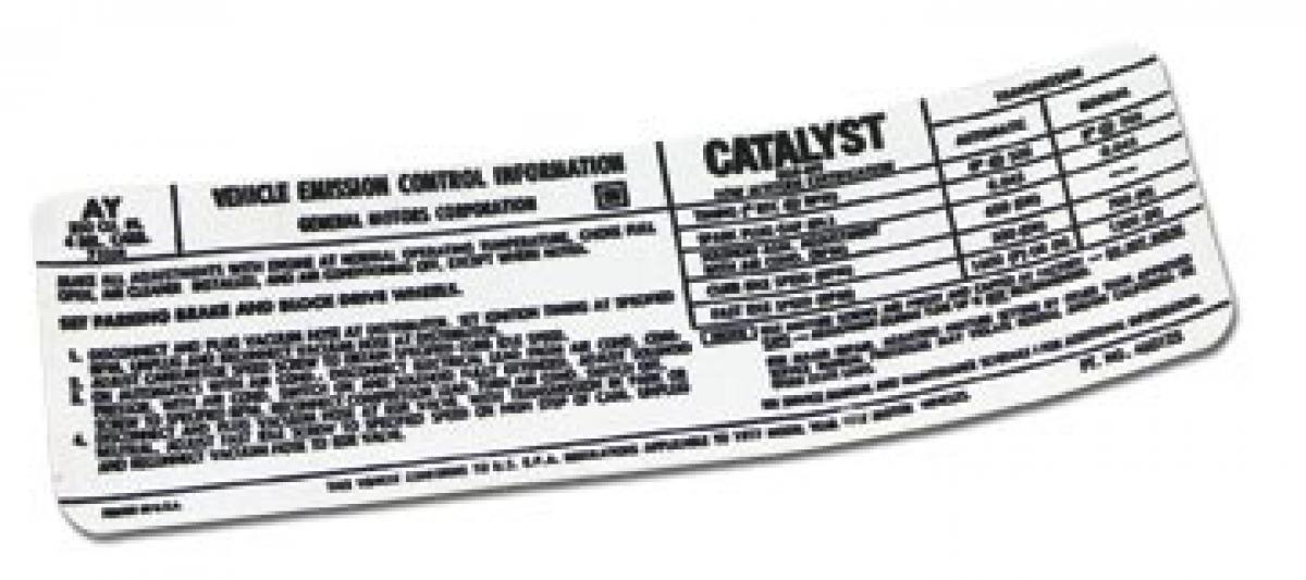 Corvette Decal, Emission L48, 1977