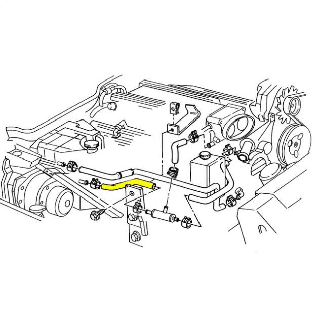 Corvette Heater Hose, Lower Coolant Surge Tank to Tee, LT1
