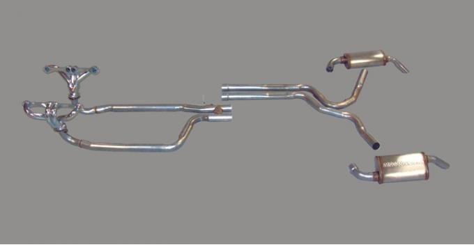 corvette dual exhaust system with headers and magnaflow mufflers 1980 1981