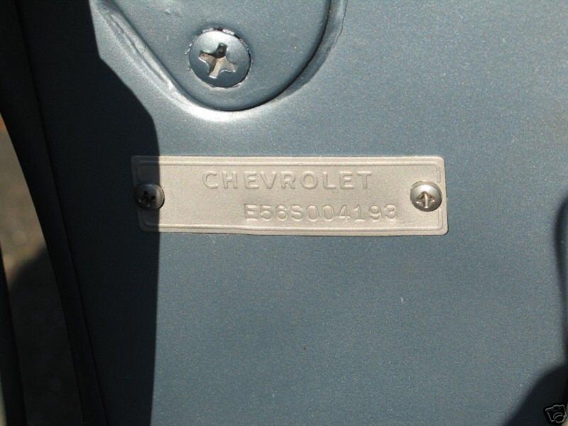 1957 Chevrolet Vin Tag