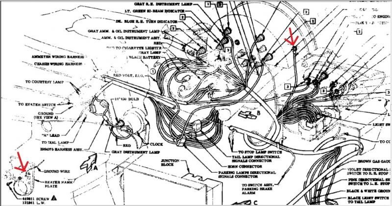 Another 1960 instrument cluster ground question