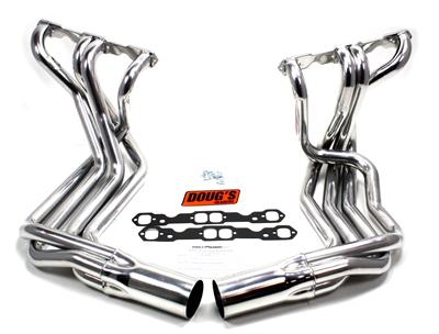 Set Of chrome Doug Headers and Hooker Side Pipes with