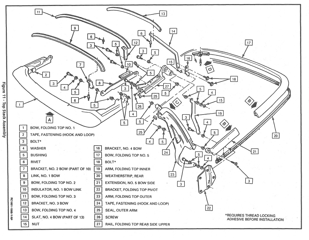 '94 Convertible Top Detail Drawing/Schematic