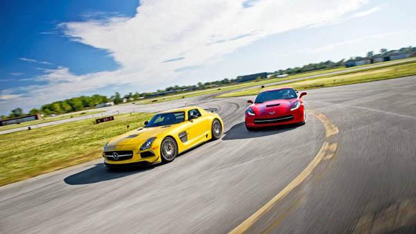 2014 C7 Chevrolet Corvette Stingray and Mercedes-Benz SLS AMG Black Series