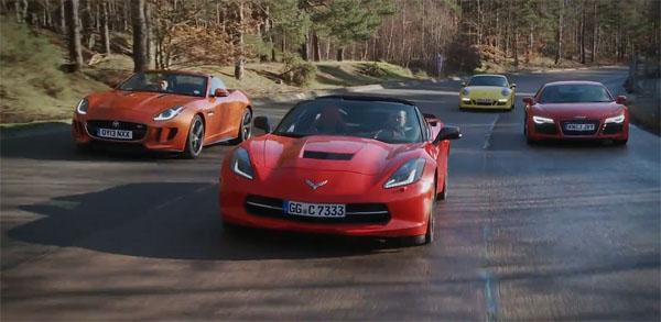 C7 Corvette Stingray vs Jaguar F-TYPE, Porsche 911 and Audi R8