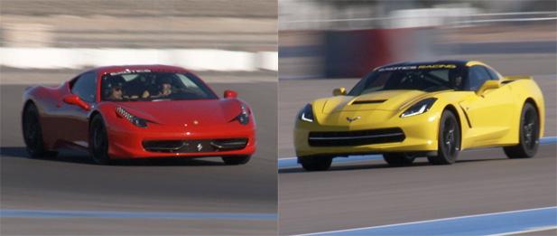 Ferrari 458 Italia and C7 Corvette Stingray at Exotics Racing