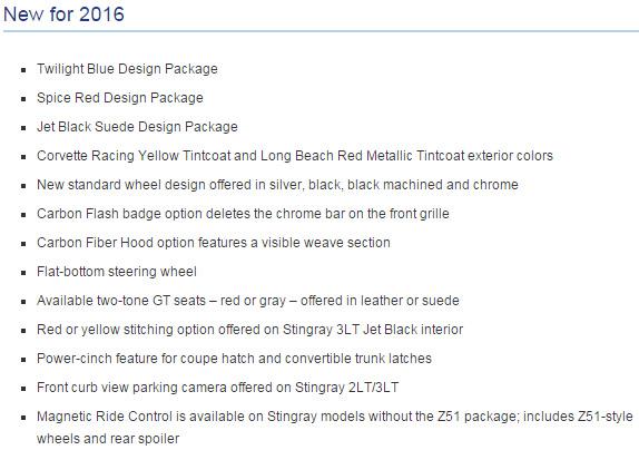 New Changes to the 2016 Chevrolet Corvette Stingray