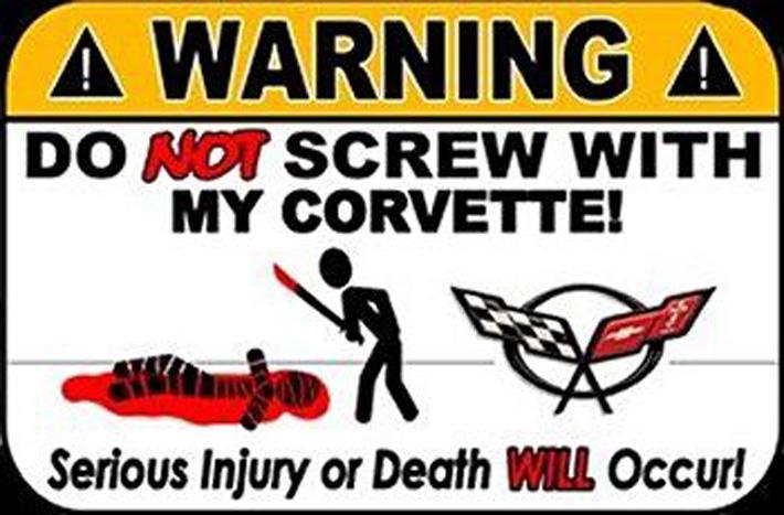 Corvette Vansalism Deterrent Sticker