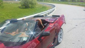 Totaled Red Corvette Z06