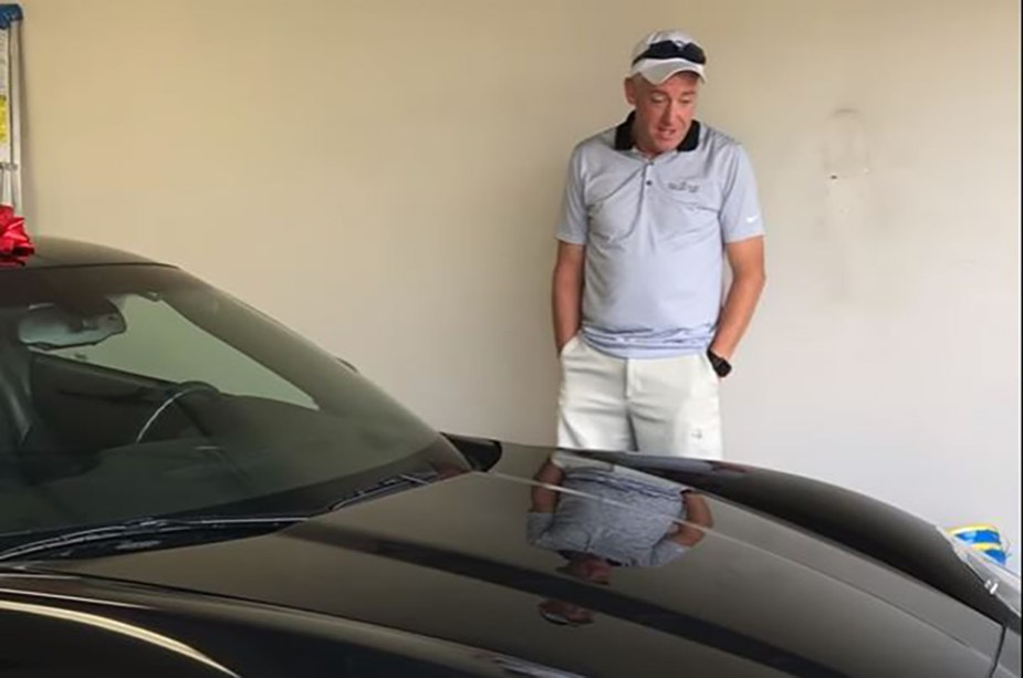 Dad Surprised by Corvette For Fathers Day