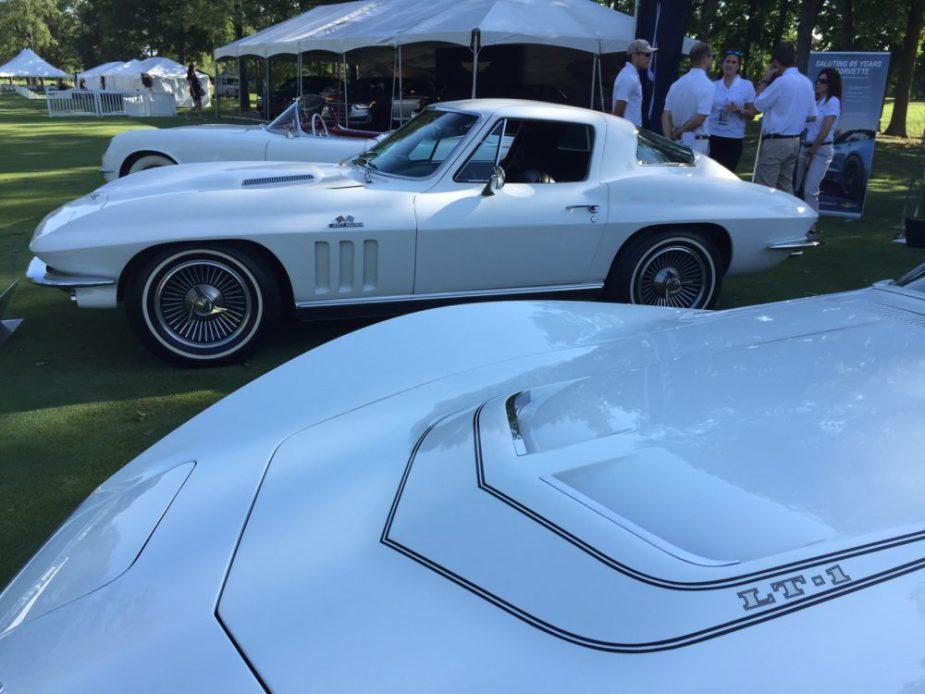 Carbon 65 Corvette C7 with C3, C2, and C1 Corvettes