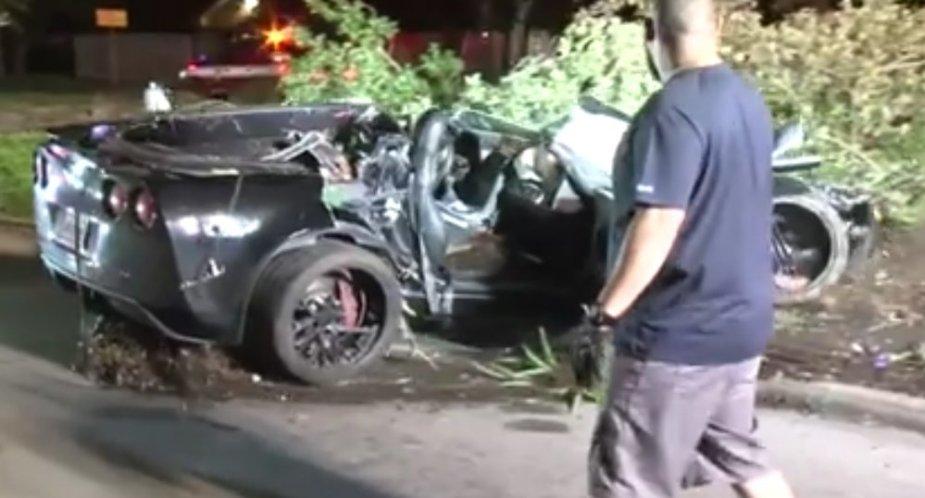 Wrecked Corvette in Houstin Rear