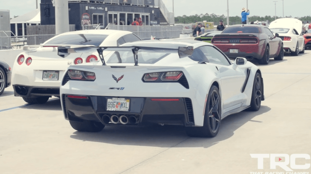 The 2019 Corvette ZR1 with its foe, the 2018 Dodge Demon.