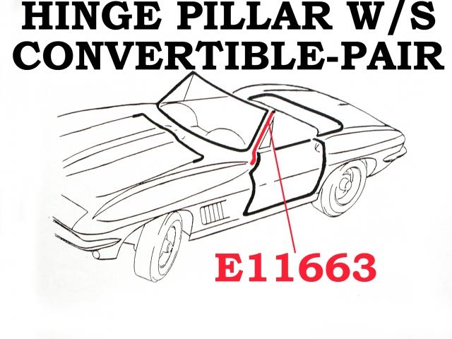 Corvette Weatherstrip Hinge Pillar Convertible Usa Pair 63