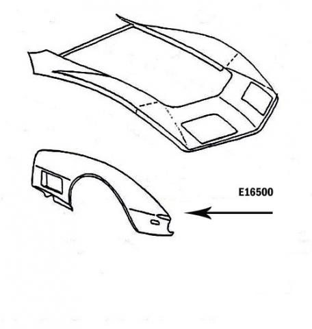 Corvette Fender Front Press Molded Black Right Hand 70 72