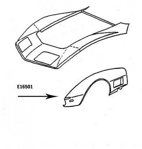 Corvette Fender Front Press Molded Black Left Hand 70 72