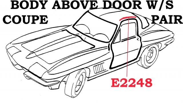 Corvette Weatherstrip Set Body Above Door Coupe Usa Pair