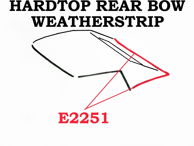 Corvette Weatherstrip Hardtop Rear Bow Usa 68 75 ( #E2251