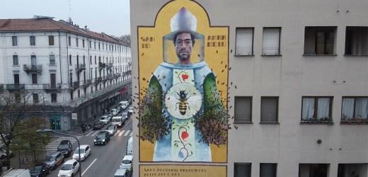 Murale omaggio al patrono Sant'Ambrogio – Milano