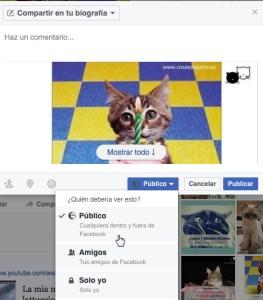 Compartir el Sorteo de manera pública en Facebook