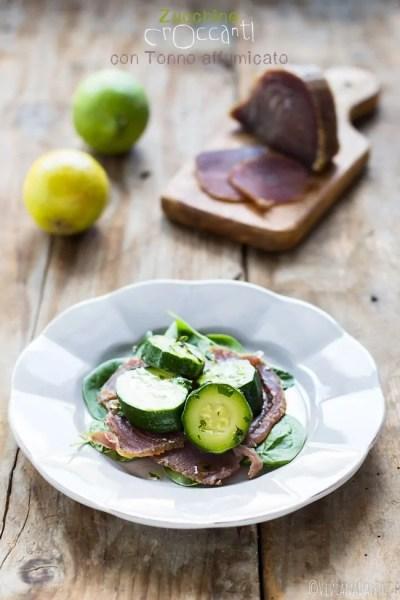 zucchine croccanti e tonno affumicato