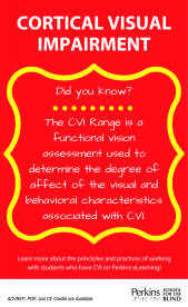 Icon that reads: Cortical Visual Impairment. Did you know? The CVI range is a functional vision assessment used to determine the degree of affect of the visual and behavior characteristics associating with CVI.