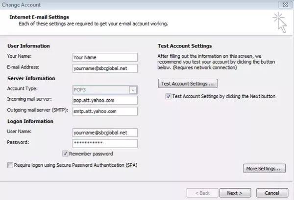 Sbcglobal email server settings