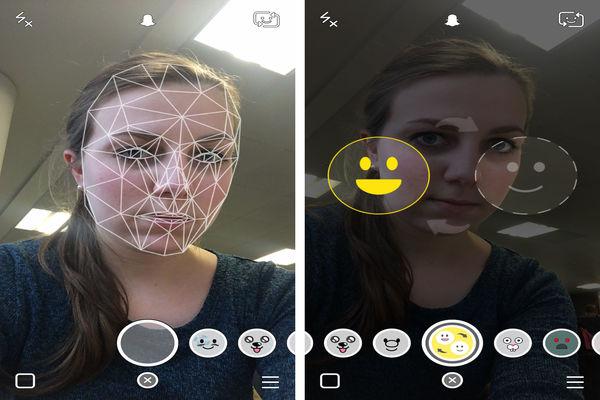snapchat filter taking selfie