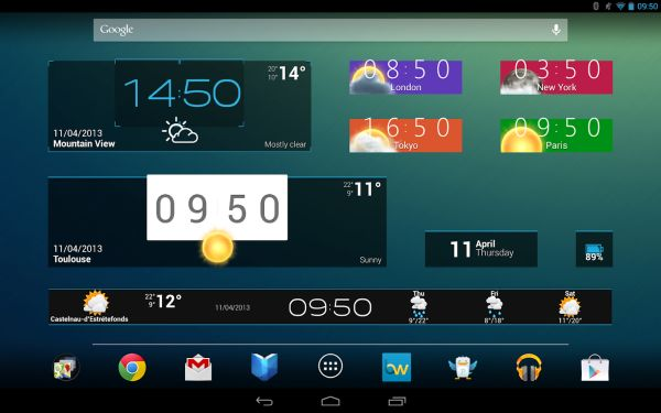 Widgets and recent apps