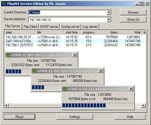 TFTPD32 Server