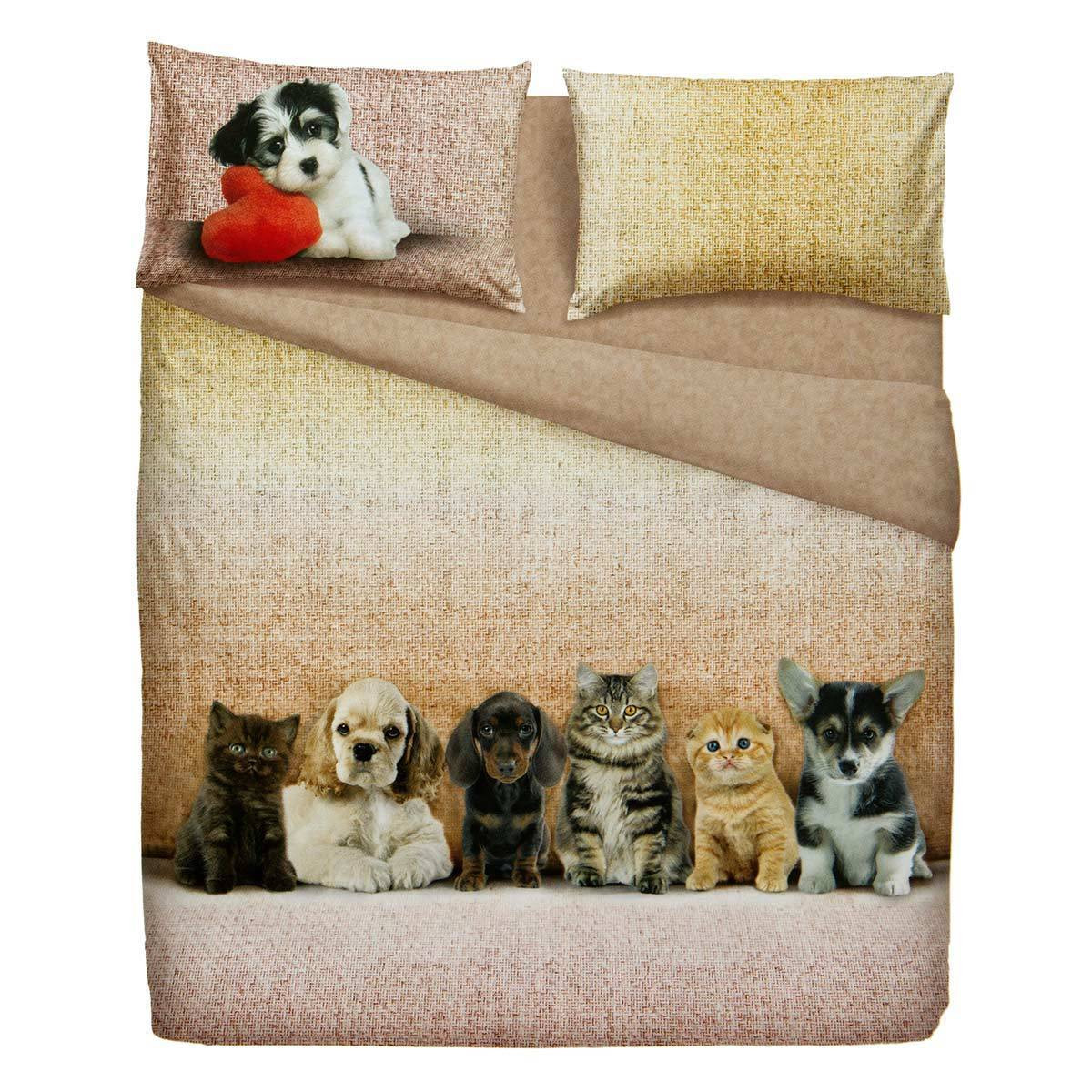 Completo Lenzuola BASSETTI Extra Dogs And Cats  Cose di