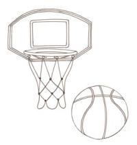 Disegni sul basket da colorare