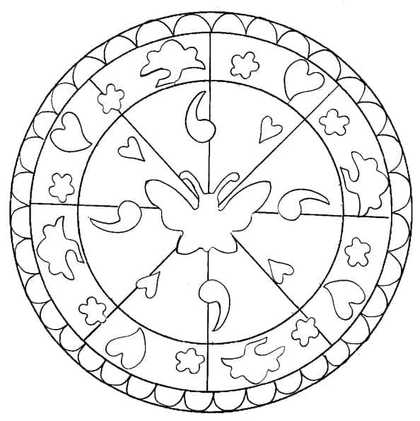 Disegno Di Mandala Con Fiore Da Colorare