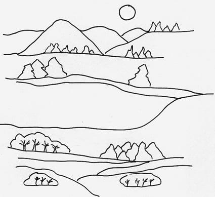 Disegno di un paesaggio di campagna  Cose Per Crescere