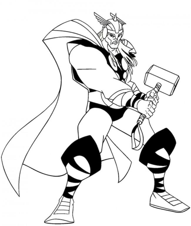 Thor che combatte da colorare