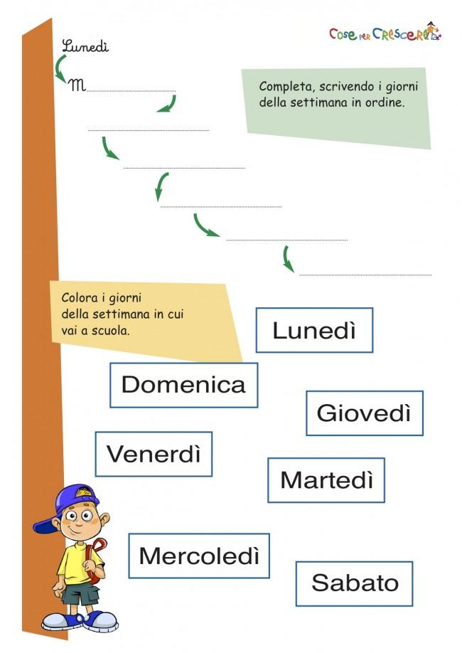 Giorni Della Settimana Storia Classe Prima
