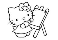 Hello Kitty che disegna da colorare - Cose Per Crescere
