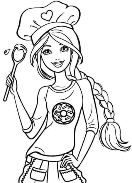 Un disegno di Barbie cuoca con tanto di cappello e