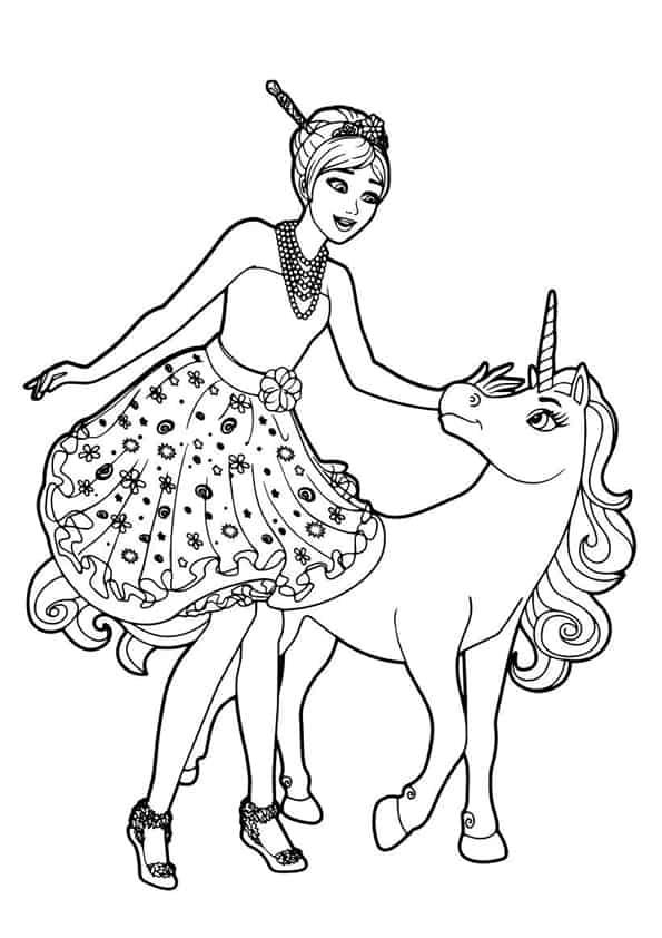 Barbie e l'unicorno da colorare