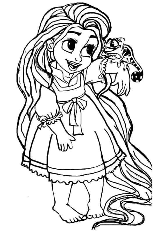 Un disegno della principessa Rapunzel bambina da stampare