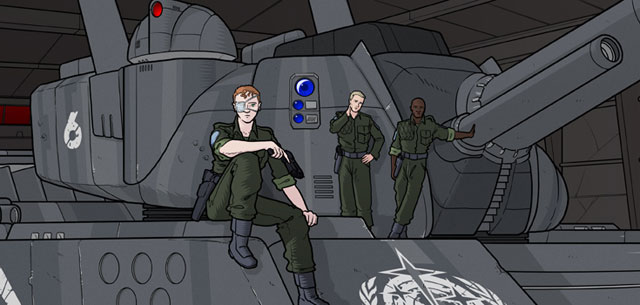 6-Commando is a graphic novel about life, death, and the chain of command in an alternate version of the 1990's. It is the most current work in progress by Mathieu Moyen. You can see his other work at Vicious Print, where he posts drawings, paintings, essays, ideas, and general nonsense related to the world of fine and applied arts.