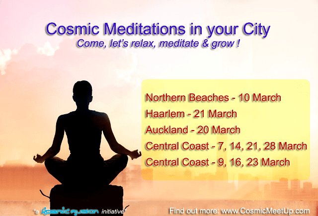 "Powerful Cosmic Meditation series ""Silent Immersion with Shunya Bindu"" in Auckland, Northern Beaches, Haarlem & Central Coast – March 2017"