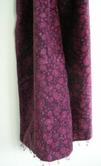 Burgundy Velvet Scarves with Paisley Print