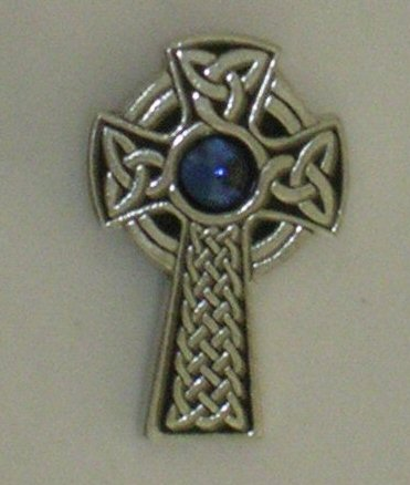 Celtic Cross Brooch Blue