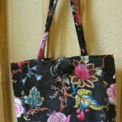 Large Black Velvet Bag with Flower Print